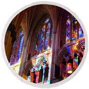 Stain Glass Cathedral Round Beach Towel