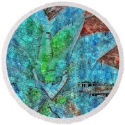Stained Glass Agave Two  Round Beach Towel