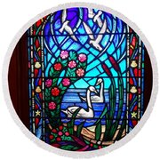 Stained Glass Beauty #20 Round Beach Towel