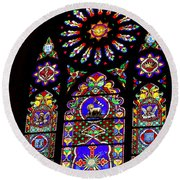 Stained Glass Beauty #46 Round Beach Towel