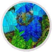 Stained Glass Blue Poppy One Round Beach Towel