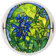 Stained Glass Bluebonnet Round Beach Towel