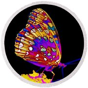 Stained Glass Butterfly Round Beach Towel