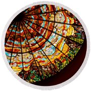 Stained Glass Ceiling Round Beach Towel