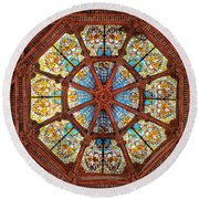 Stained Glass Ceiling Window Round Beach Towel