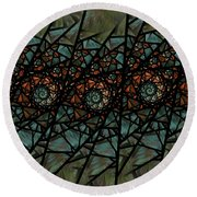 Stained Glass Floral I Round Beach Towel