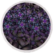 Stained Glass Floral II Round Beach Towel