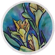 Stained Glass Flowers Round Beach Towel