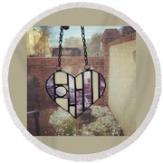 Stained Glass Heart Round Beach Towel