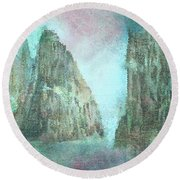 Stained Glass Mountain Temple Round Beach Towel