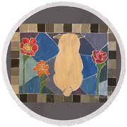 Stained Glass Pug Round Beach Towel