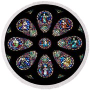 Stained Glass Rose Window In Lisbon Cathedral Round Beach Towel