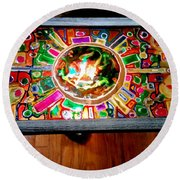 Stained Glass Table Round Beach Towel