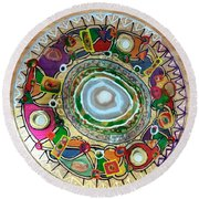 Stained Glass Table Top Round Beach Towel