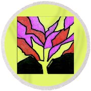 Tree - Stained Glass Watercolor Round Beach Towel