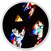 Stained Glass View Round Beach Towel