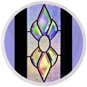 Stained Glass Watercolor Round Beach Towel