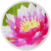 Stained Glass Waterlily Round Beach Towel