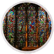 Stained Glass Window Christ Church Cathedral 2 Round Beach Towel