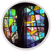 Stained Glass With Crucifix Silhouette Round Beach Towel