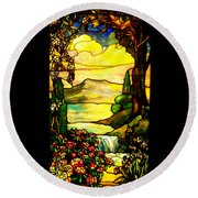Stained Landscape Round Beach Towel