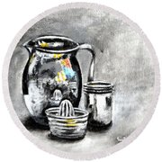 Stainless Steel Still Life Painting Round Beach Towel