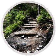 Stair Stone Walkway In The Forest Round Beach Towel