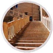 Staircase At Scala Della Ragione - Verona Italy Round Beach Towel