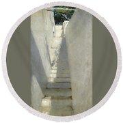 Staircase In Capri Round Beach Towel