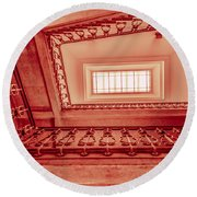 Staircase In Red Round Beach Towel