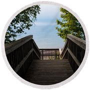 Staircase Of Tranquility Round Beach Towel