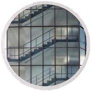Stairs Behind Glass Round Beach Towel
