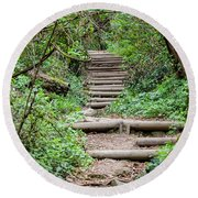 Stairs Going Up Hillside Round Beach Towel