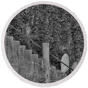 Stairs In Black And White Round Beach Towel