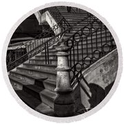 Stairs In The Markethall  Round Beach Towel