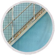 Stairs On Blue Wall Round Beach Towel