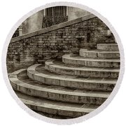 Stairs To Canal Bridge Venice_dsc1637_03012017  Round Beach Towel