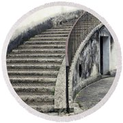 Stairs To Underground Round Beach Towel