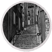 Stairway In France Round Beach Towel
