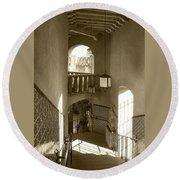 Stairway - In Sepia Round Beach Towel