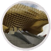 Stairway Leading Up To Metropol Parasol In The Plaza Of The Inca Round Beach Towel