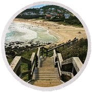 Stairway To Beach Round Beach Towel