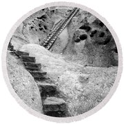 Stairways To The Kiva Round Beach Towel