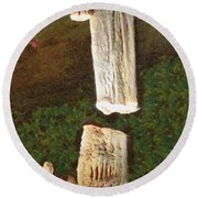 Stalacites And Stalagmites In A Cave Round Beach Towel