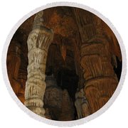 Stalacmites In Luray Caverns Va  Round Beach Towel
