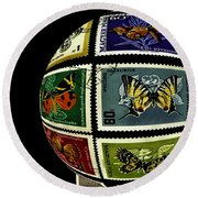 Butterfly Postage Stamp Art Print Round Beach Towel