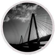 Stan Musial Bridge St Louis Mo Black And White_dsc4591_16_65 Round Beach Towel