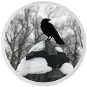 Crow Stance On Cold Stone Round Beach Towel