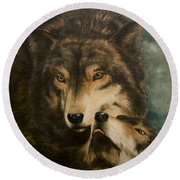 Stand By Me - Wolves Round Beach Towel