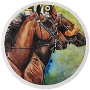 Standardbred Trotter Pacer Painting Round Beach Towel
